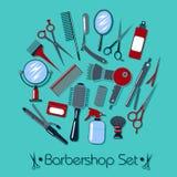 Fryzjer męski i fryzjer Wytłaczamy wzory set ilustracji