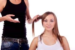 fryzjer męski klienta mężczyzna kobieta Fotografia Stock