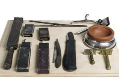 Fryzjer męski starzy narzędzia Zdjęcia Royalty Free
