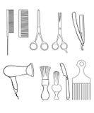 Fryzjer męski Ustawiający Sklepowi elementy i ogolenie ikon ilustraci fryzjer Obrazy Royalty Free