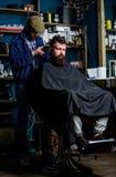 Fryzjer męski z cążki arymażu włosy na nape klient Modnisia klient dostaje ostrzyżenie Modniś fryzury pojęcie barber Zdjęcie Stock