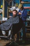 Fryzjer męski z cążki arymażu włosy na nape klient Modnisia klient dostaje ostrzyżenie Modniś fryzury pojęcie barber zdjęcie royalty free