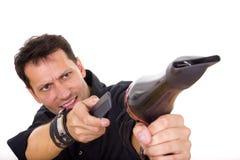 Fryzjer męski z grzebieniową i włosianą suszarką Zdjęcie Stock