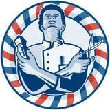 Fryzjer męski Z słupa Włosianym cążki Retro nożycami i ilustracja wektor