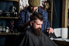 Fryzjer męski z włosianym cążki pracuje na ostrzyżeniu brodaty faceta zakładu fryzjerskiego tło Modniś fryzury pojęcie Fryzjer mę zdjęcie royalty free