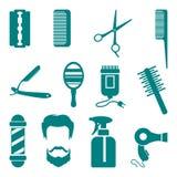 Fryzjer męski ikony set Zdjęcia Royalty Free