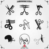 Fryzjer m?ski ikony wektorowy logo, ilustracja, wektoru szyldowy symbol dla projekta royalty ilustracja