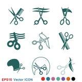 Fryzjer m?ski ikony wektorowy logo, ilustracja, wektoru szyldowy symbol dla projekta ilustracja wektor