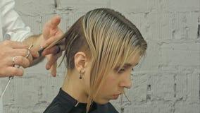Fryzjera arymażu blondyn z nożycami obraz royalty free