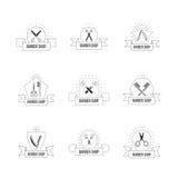 Fryzjera logo ustawiający z roczników nożycami Włosianego salonu retro odznaki ilustracji