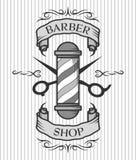 Fryzjera męskiego słup, nożyce i faborek dla teksta, Fotografia Royalty Free