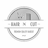 Fryzjera męskiego sklepu emblemat lub etykietka przedstawia gręplę i nożyce z tekstem Fotografia Stock