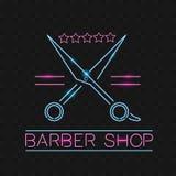 Fryzjera męskiego sklepu loga neonowy znak, loga projekta elementy Może używać jako szablon lub chodnikowiec dla logów, etykietki obraz stock