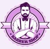 Fryzjera męskiego sklepu logo z mężczyzną royalty ilustracja