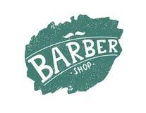 Fryzjera męskiego sklepu logo z wąsy ilustracji