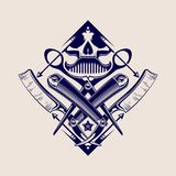 Fryzjera męskiego sklepu logotyp royalty ilustracja