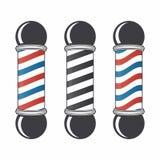 Fryzjera męskiego sklepu słupa set Rocznika fryzjera męskiego sklepu znak Loga projekta element Obrazy Royalty Free