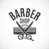 Fryzjera męskiego sklepu rocznika wektorowy loga, etykietki, odznaki lub emblemata projekt, Na biel Fotografia Royalty Free