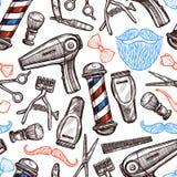 Fryzjera męskiego sklepu atrybuty Doodle Bezszwowego wzór Obraz Royalty Free
