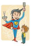 Fryzjera super bohater ilustracja wektor