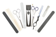 Fryzjerstw fachowi narzędzia. Tło Obraz Stock