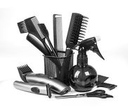 Fryzjerstw narzędzia na bielu zdjęcie royalty free