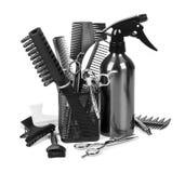 Fryzjerstw narzędzia na whit fotografia stock
