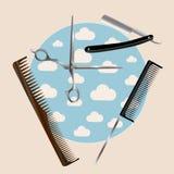 Fryzjerstw narzędzia ustawiający niebieski obraz nieba tęczową chmura wektora Projekt dla fryzjerstwo salonu royalty ilustracja