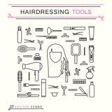 Fryzjerstw narzędzia - ikony Obraz Royalty Free