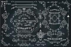 Fryzujący kaligraficzni projektów elementy ustawiający, Wirujący Zdjęcia Royalty Free
