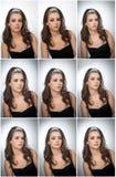 Fryzura i Uzupełniał - pięknego żeńskiego sztuka portret z pięknymi oczami Prawdziwa naturalna brunetka z biżuterią, studio strza Obrazy Royalty Free