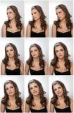 Fryzura i Uzupełniał - pięknego żeńskiego sztuka portret z pięknymi oczami Prawdziwa naturalna brunetka z biżuterią, studio strza Obrazy Stock