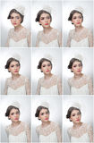 Fryzura i uzupełniał - pięknego młodej dziewczyny sztuki portret Śliczna brunetka z białą nakrętką przesłoną i, studio strzał atr Zdjęcie Royalty Free