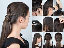 Fryzury ponytail z plecenia tutorial zdjęcie royalty free
