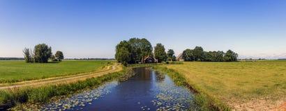 Fryzyjski polderu krajobraz w holandiach Zdjęcie Royalty Free
