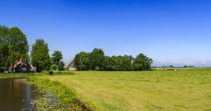 Fryzyjski polderu krajobraz w holandiach Fotografia Stock