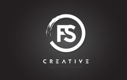 FS Circular Letter Logo with Circle Brush Design and Black Background. vector illustration