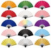 Fãs de dobramento coloridos japoneses Fotografia de Stock