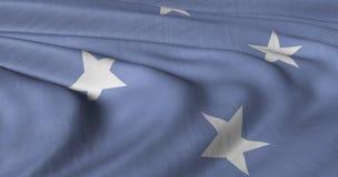FS della bandiera della Micronesia che fluttua nel bre leggero immagine stock