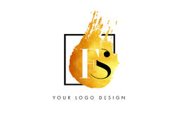 FS gouden Brief Logo Painted Brush Texture Strokes Stock Foto's