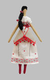 FS-Handmade isolated doll girl in Ukrainian folk style dress Stock Images