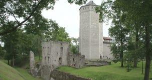 从有偿的爱沙尼亚FS700 4K未加工的冒险旅行7Q的一座老城堡 股票录像
