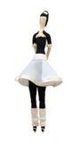 FS-met de hand gemaakte geïsoleerde poppenballerina in witte rok Stock Foto