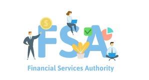 FSA, autoridad de los servicios financieros Concepto con palabras claves, letras e iconos Ejemplo plano del vector Aislado en bla stock de ilustración