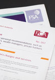 FSA and FCA. Paperwork from FCA and FSA ahead of swap over royalty free stock images