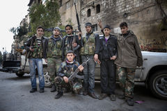FSA fighters Aleppo. royalty free stock image