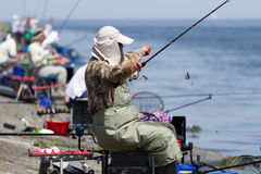 Fshing competition in Ukraine. VYSHGOROD, UKRAINE - JUNE 7, 2014: Fshing competition Fishing Feeder Cup of Ukraine on the municipal embankment of the Kyiv sea in Stock Photography