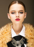 Glamour. Portrait of Honorable Fashionable Woman in  Rufous Fur Collar Royalty Free Stock Photo