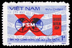 FSM emblem, 11th World Trade Unions Congress serie, circa 1986 royalty free stock image