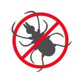 Fästingkrypkontur Symbol för kvalsterhjortfästingar Farlig svart parasit Förbud inget för stoppvarning för symbol rött runt tecke Royaltyfri Fotografi